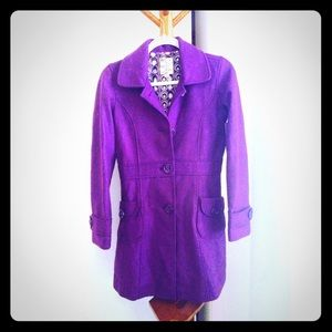 NWT Tulle Nordstrom Purple Button Long Coat Jacket